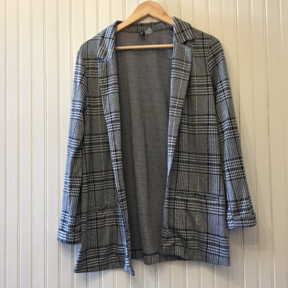 H&M Divided relaxed fit check long blazer S